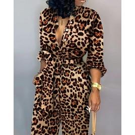 Leopard Tied Waist Long Sleeve Jumpsuit
