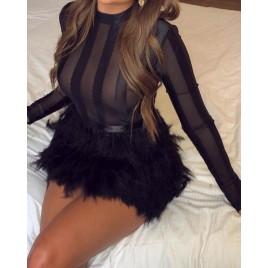 Mesh Long Sleeve Faux Fur Dress