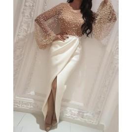 Beaded Embellished Mesh Patchwork Slit Dress