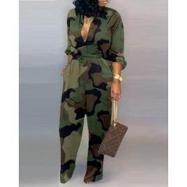 V Neck Camouflage Print Buttoned Jumpsuit