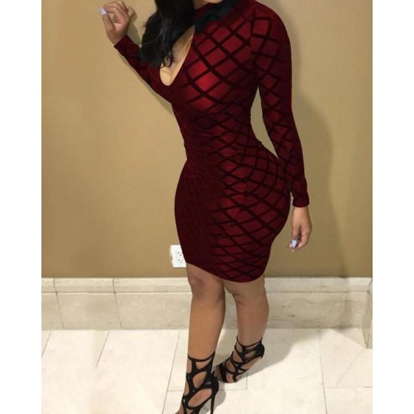 Geo Cutout Front Mesh Sleeve Bodycon Dress