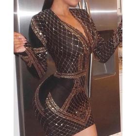 Deep V Long Sleeve Geo Sequin Party Dress