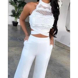 Bandage Lace Top + Flare Pants Set