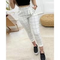 High Waist Grid Paperbag Waist Casual Pants