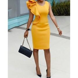Stylish Ruffled Patchwork Sleeveless Bodycon Dress