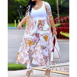 Floral Print Cardigan With High Waist Pants Set