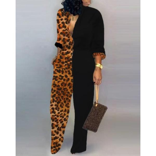 Plunge Colorblock Insert Leopard Jumpsuit