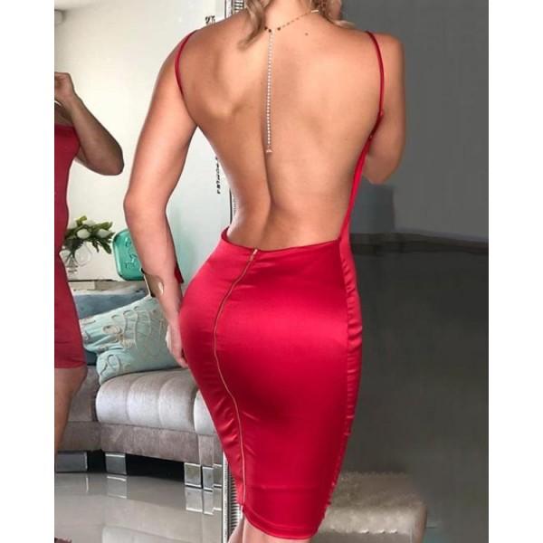 Open Back Spaghetti Strap Bodycon Dress