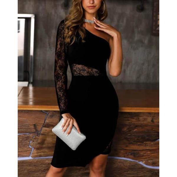 One Shoulder Lace Insert Slit Bodycon Dress