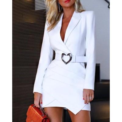 Notched Collar Padded Shoulder Ruched Blazer Dress