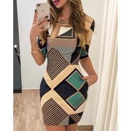 Geo Chain Print Bodycon Dress
