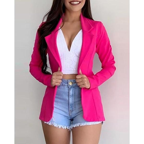 Solid Long Sleeve Blazer Coat