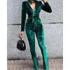 Velvet Long Sleeve Deep V Belted Suit Set