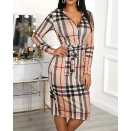 Grid Long Sleeve Zipper Front Bodycon Dress