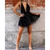 Plunge Crisscross Back Sequins Party Dress