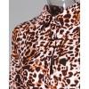 Leopard Print Irregular Hem Casual Blouse