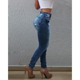 High Waist Distress Slinky Jeans