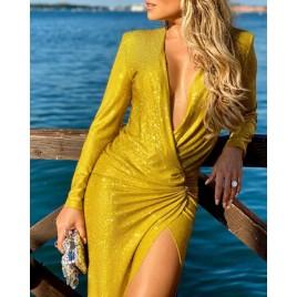 Glitter Surplice Wrap Deep V Ruched Slit Dress