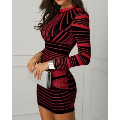 Contrast Striped Long Sleeve Bodycon Dress