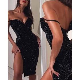 Black Sequin V-Neck Slit Dress