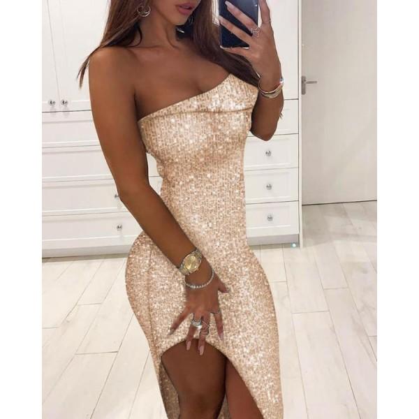 Sequins Off Shoulder Irregular Hem Bodycon Dress