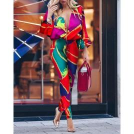 Colorblock Print Plunge Casual Jumpsuit