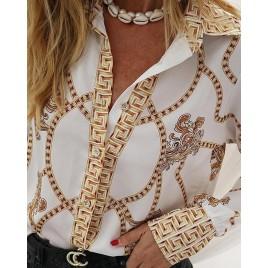 Chain Print Long Sleeve Casual Shirt