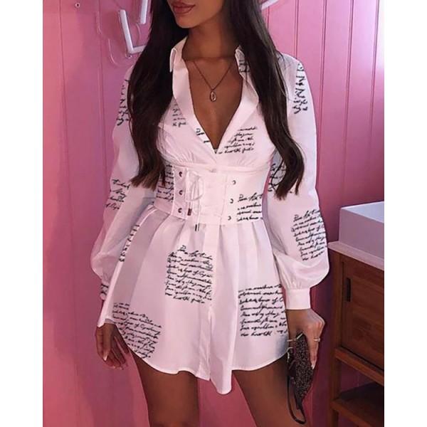 Letter Print Tight Waist Lantern Sleeve Shirt Dress