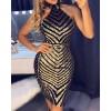 Open Back Chevron Sequin Bodycon Dress